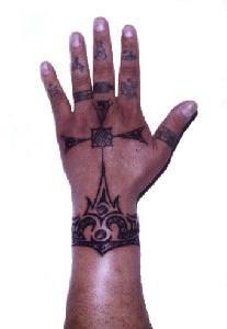 Full hand black ink tattoo