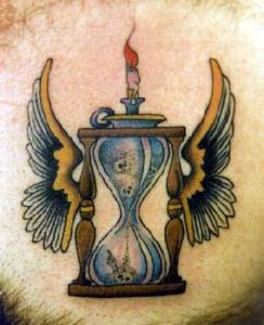 Winged sand clock of death coloured tattoo