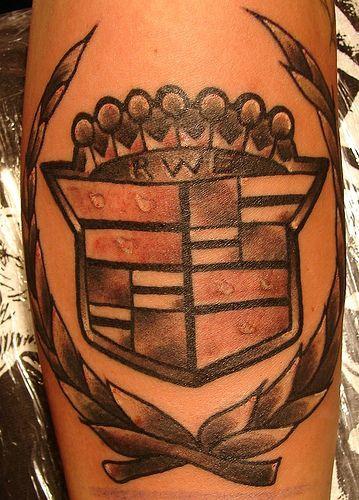 Cadillac logo large tattoo