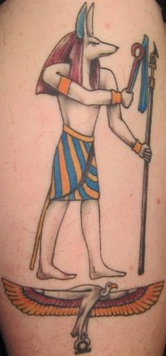 Ancient egyptian deity coloured tattoo