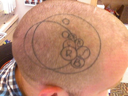 Tattooed head, litle circles with letters in two big circles