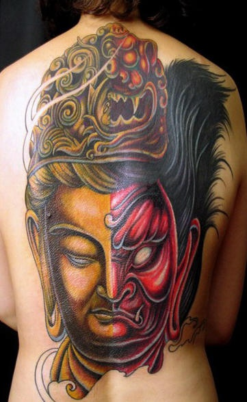 Large two sided shiva hindu tattoo on back