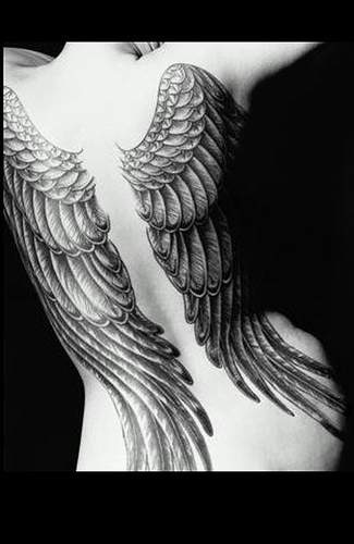Angel wings women tattoo on whole back