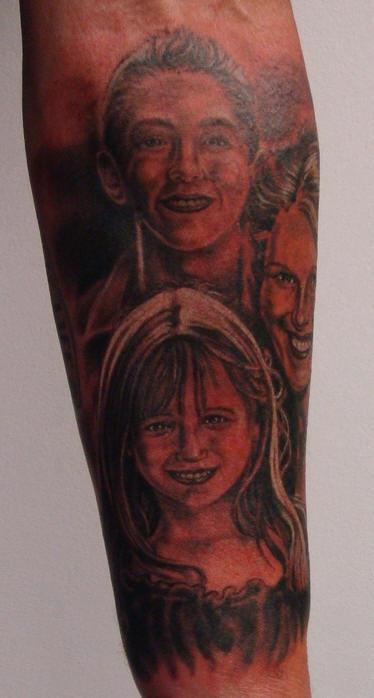 family portrait sleeve tattoo. Black Bedroom Furniture Sets. Home Design Ideas