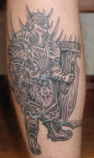 Tattoo of great warrior with blue lightning