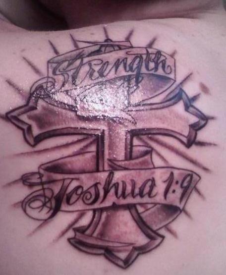 Tattoo On Back Of Shoulder Strengthcross Joshua 19 Tattooimagesbiz