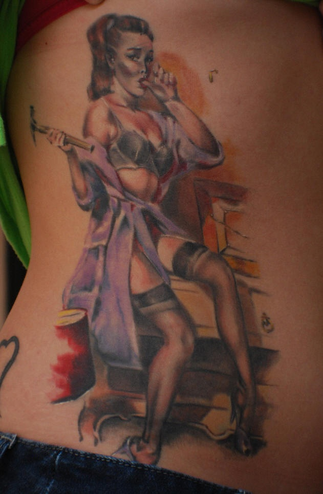 Tattoo on side of ribs, betsy, sexy girl with hammer