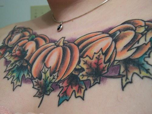 Pumpkin  tattoo on chest