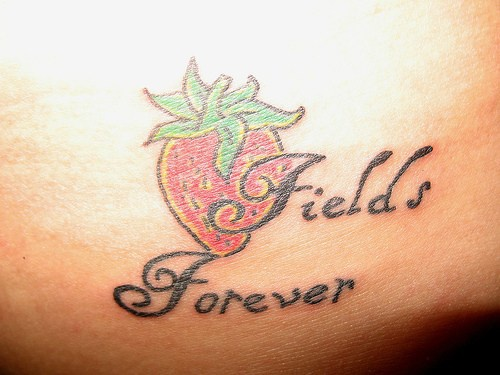 Fields forever,little  red strawberry tattoo on hip