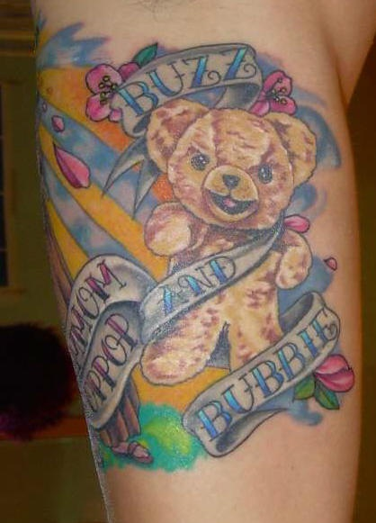 Teddy bear in stripes tattoo