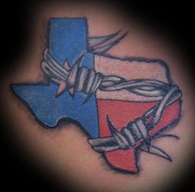 texas in filo spinato tatuaggio