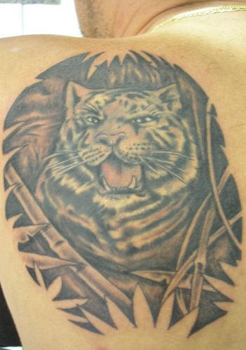 Snow tiger in bamboo forest  tattoo