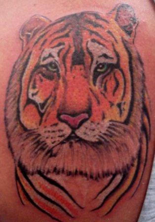 Colourful tiger head tattoo