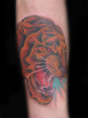 Angry coloured tiger tattoo