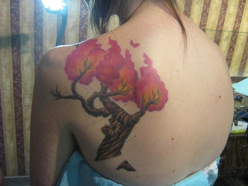 Scapular tattoo of tree with cool red leafage