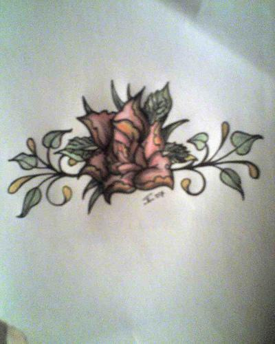 Colored tree tattoo with beautiful flower
