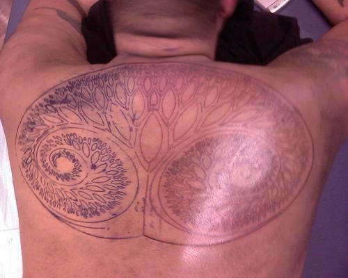 Tatuaggio sulla schiena il disegno in forma dell&quotalbero