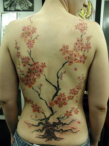 Colorful cherry blossoms tree tattoo on back