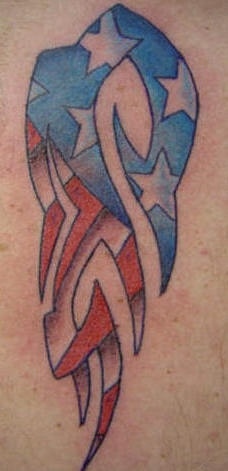 Tribal american flag tattoo