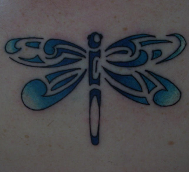 Tribal blue dragonfly tattoo