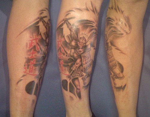 Leg tattoo, flying robot fighting with monster