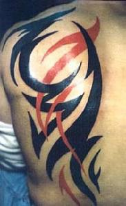 Tribal black and red tattoo of big lines