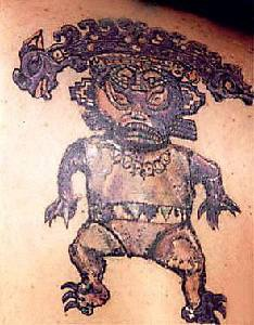 Tribal tattoo of small angry warrior