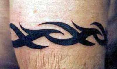 Tribal bracelet tattoo in black ink