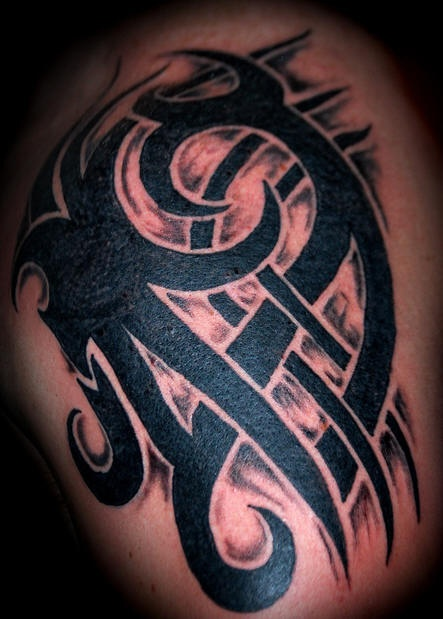 Shoulder tattoo, black, aggressive,pattern  net