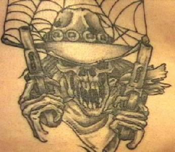 Bandit skeleton with guns tattoo