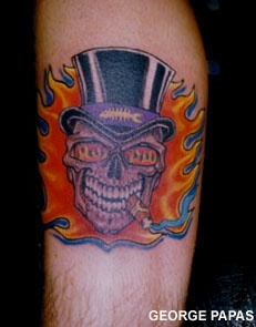 Coloured skull with cigar and cylinder tattoo