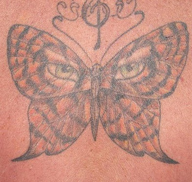 Tiger eyes on butterfly  tattoo
