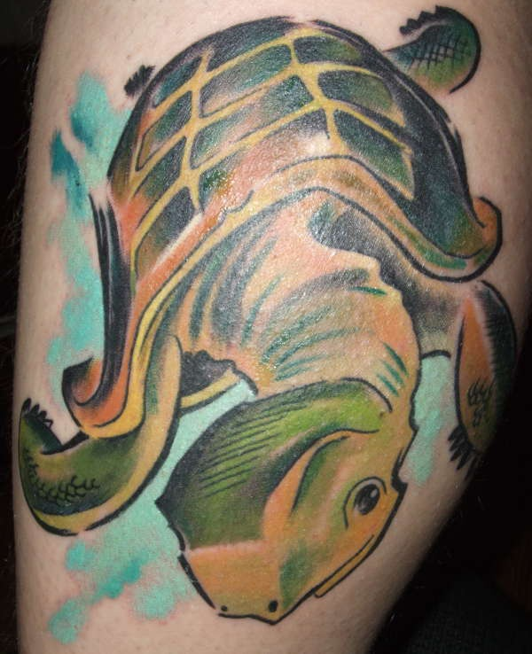 Cool art turtle tattoo in green color
