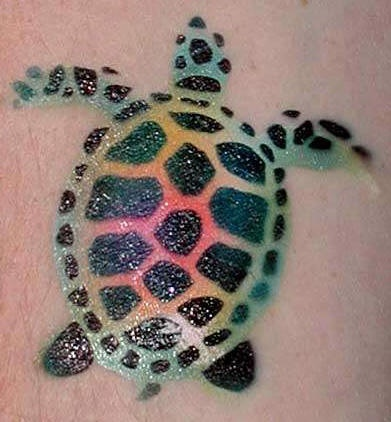 Turtle tattoo with nice bright design