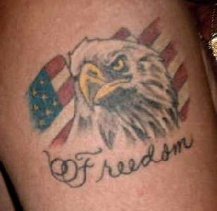 Freedom eagle and american flag tattoo - Tattooimages.biz