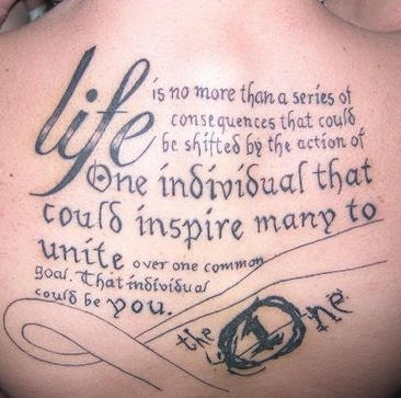 Tattoo one individual that inspire  on upper back