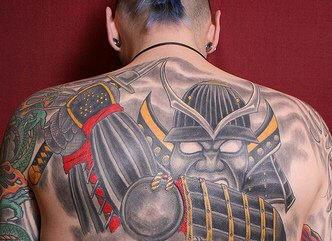 On upper back iron tattoo evil samurai