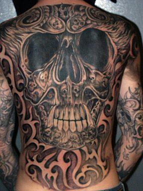 Skull with sharp teeth large tattoo