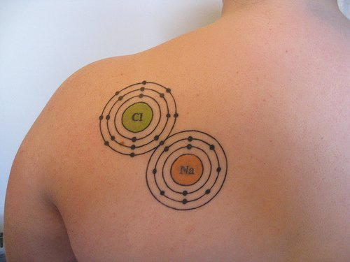 Tattoo chemical elements on upper back