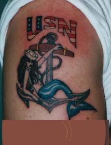 Usa navy mermaid on anchor  tattoo