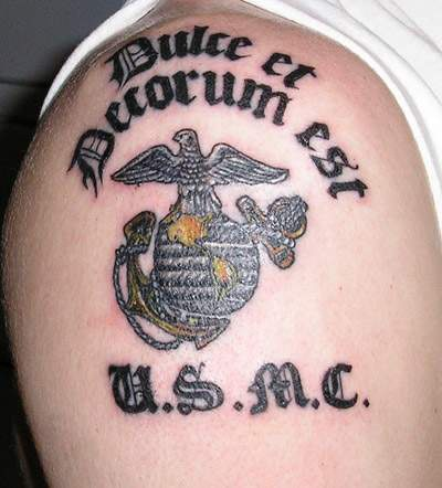 usmc symbol with motto tattoo. Black Bedroom Furniture Sets. Home Design Ideas