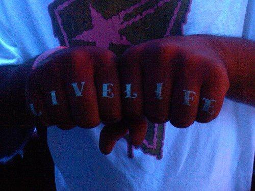 Live life uv ink knuckle tattoo
