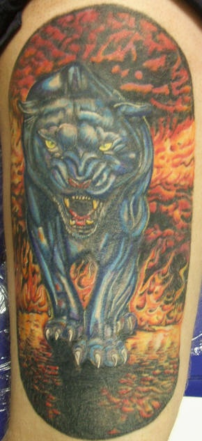 Vicious black panther in hell tattoo