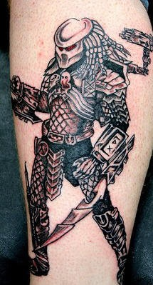 Predator warrior black ink tattoo