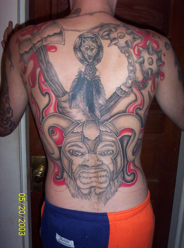 Whole back viking warrior tattoo with red blood