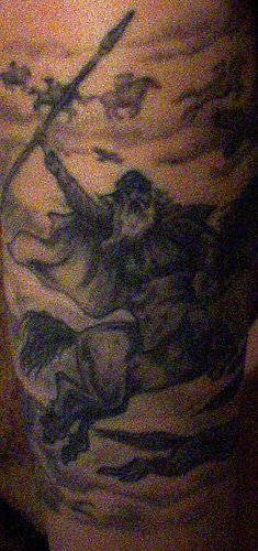 Viking warrior with spear on horse tattoo