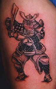 Warrior tattoo with armor and sword