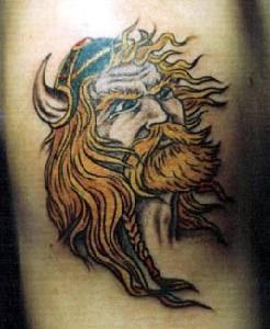 Viking tattoo art of warrior with blonde hair