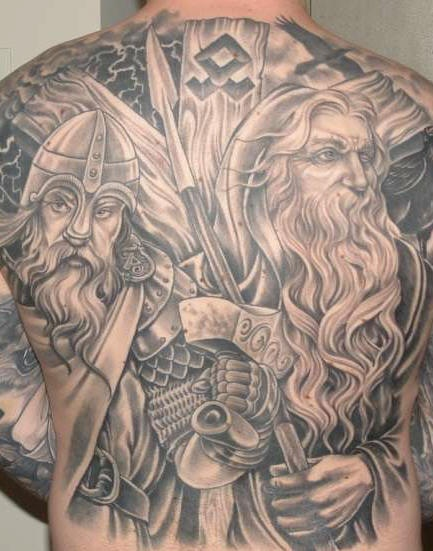 Black viking tattoo on whole back