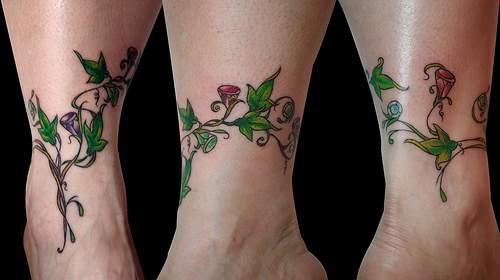 beautiful colored vine tattoo on wrist. Black Bedroom Furniture Sets. Home Design Ideas